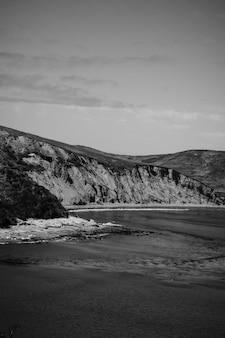Pionowe ujęcie w skali szarości skał na brzegu morza