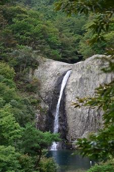 Pionowe ujęcie wodospadu jikso w parku narodowym byeonsan bando