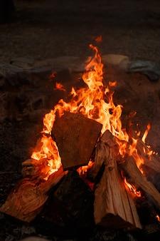 Pionowe zbliżenie widok ogniska z pięknym pomarańczowym płomieniem