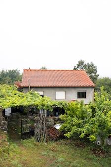 Pionowo widok wieś dom w północy hiszpania, galicia. sezon zimowy. wilgotność i deszczowa pogoda w domu. natura wiejski krajobraz na zieleni polu z nieociosanymi domami.
