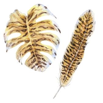 Pióra i liście tygrys drukuj zestaw akwarela