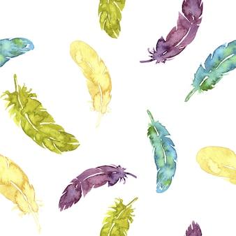 Pióra letnie kolorowe akwarela bezszwowe wzór