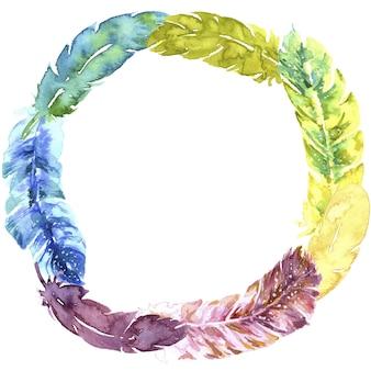 Pióra letnie kolorowe ramki akwarela