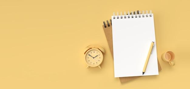 Pióro renderowania 3d i notatnik z budzikiem i koszykiem na tle pastelowych kolorów.
