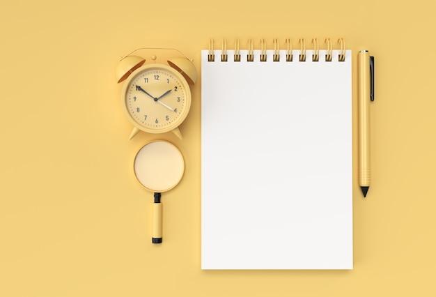 Pióro renderowania 3d i notatnik z budzikiem na pastelowym żółtym tle.