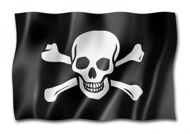 Piracka flaga, jolly roger na białym tle