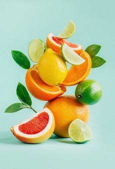Piramida cytrusowych grejpfrutów, cytryny, pomarańczy i limonki ozdobiona liśćmi na niebiesko