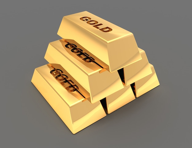 Piramida ze złotych sztabek. 3d renderowana ilustracja