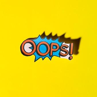Pisać na maszynie oops komiczni tekstów efekty dźwiękowi na żółtym tle
