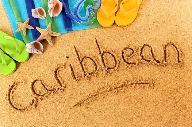 Pisanie na karaibskiej plaży