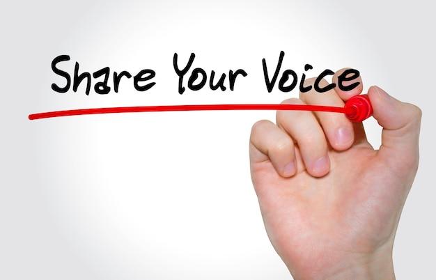 Pisanie ręczne napis udostępnij swój głos markerem