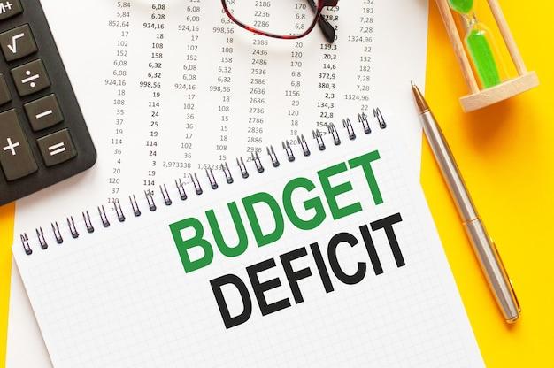 Pisanie tekstu pokazującego deficyt budżetu. pisanie tekstu deficyt budżetu na białej karcie papierowej, zielone i czarne litery, żółta ściana. pomysł na biznes.