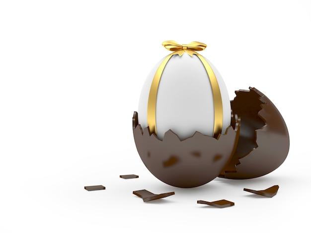 Pisanka w łamanej skorupce z czekolady.