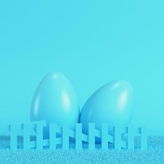Pisanki za płotem na jasnoniebieskim tle w pastelowych kolorach. koncepcja minimalizmu