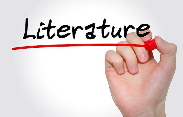 Pisma napis literatura z markerem, koncepcja, pień obraz