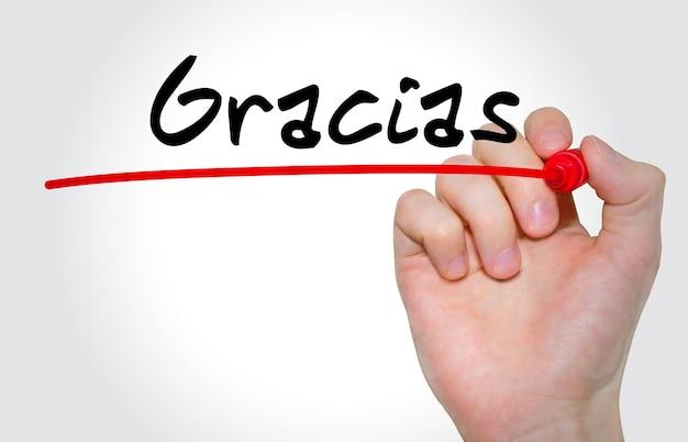 Pisma odręcznego napis gracias markerem, koncepcja