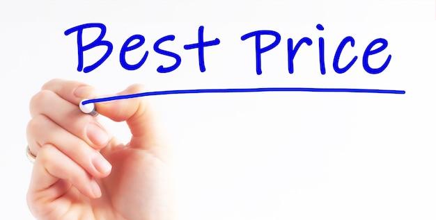 Pismo odręczne napis najlepsza cena z niebieskim markerem, koncepcja, obraz