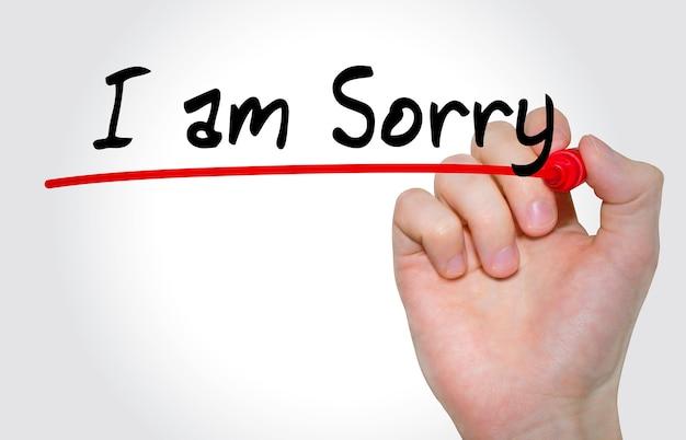 Pismo ręczne napis przepraszam za pomocą markera, koncepcja