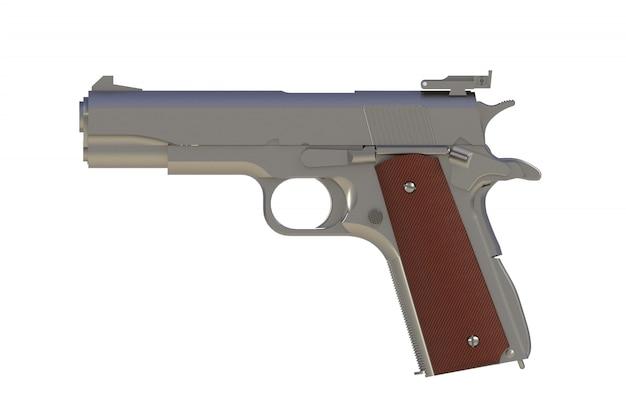 Pistolet kalibru 45 na białym tle