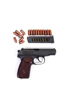 Pistolet makarov kula klip uchwyt ustawić biały na białym tle brązowy czarny star stary radziecki