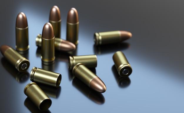 Pistoletowe naboje na szarym tle