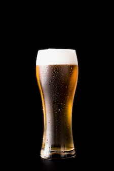 Piwny szkło przed czarnym tłem