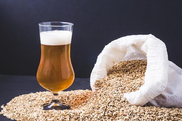 Piwo rzemieślnicze w szkle i ziarenkach jasnego słodu jęczmiennego, wylane z płóciennej torby. ale lub lager ze słodu pilzneńskiego.