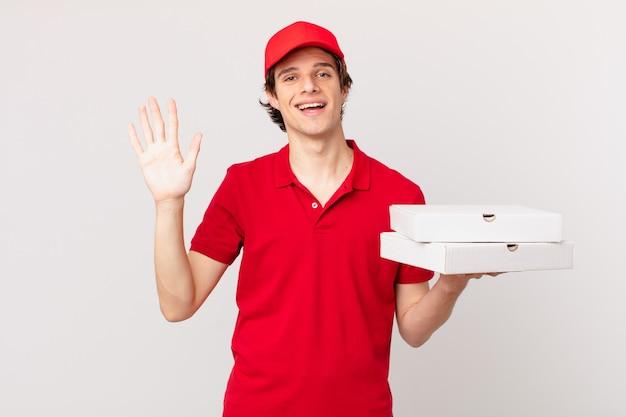 Pizza dostarcza człowieka uśmiechniętego radośnie, machającego ręką, witającego i witającego cię