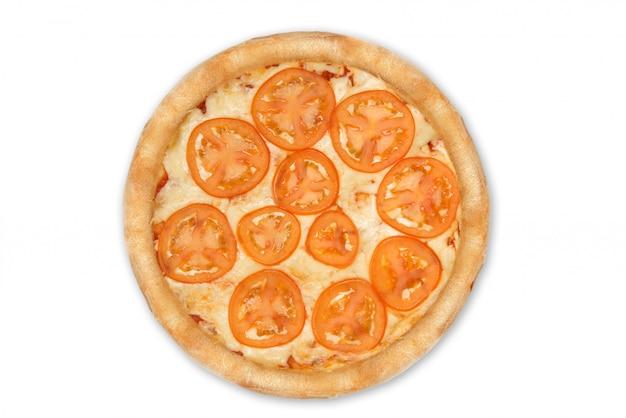 Pizza margarita odizolowywająca na białym, odgórnym widoku dla menu
