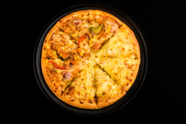 Pizza mieszanka włoskie jedzenie , pizza durian i smak kurczaka