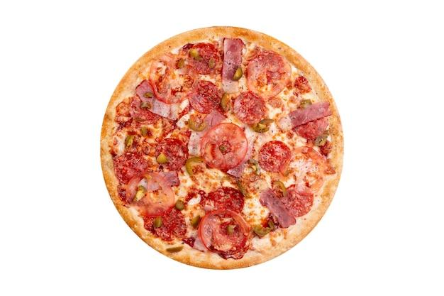 Pizza odizolowywająca na białym tle. gorące fast foody