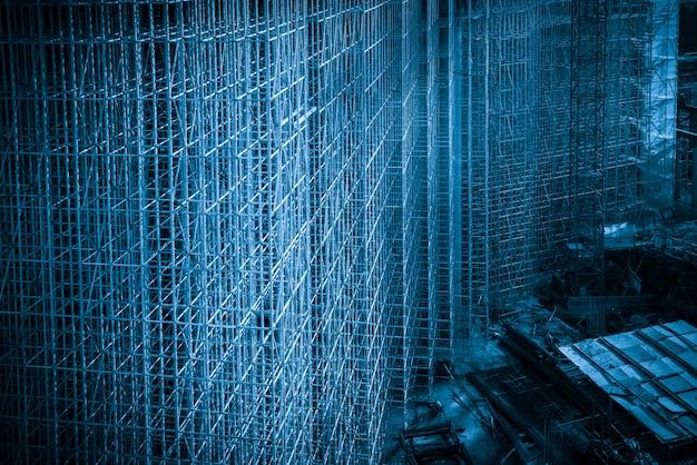Plac budowy w stylu niebieskim, rama konstrukcji budynku