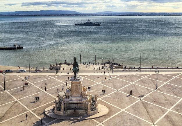 Plac commerce lub praca do comercio w lizbonie w portugalii