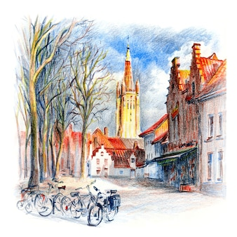 Plac w brugii, belgia