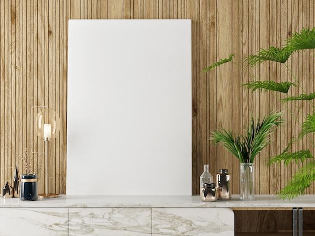 Plakat makieta, retro drewniane tło, stojak tv z kwiatami i dekoracją domu, renderowanie 3d, ilustracja 3d