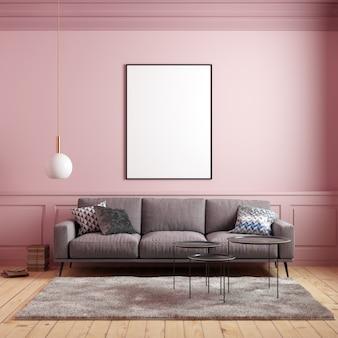 Plakat makieta w różowym wnętrzu z sofą i dekoracje