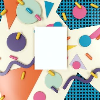 Plakat makieta z kolorowych abstrakcyjnych kształtów geometrycznych