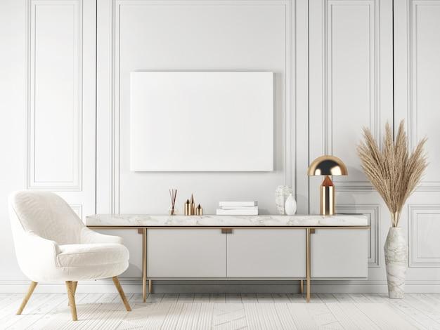 Plakat makiety, styl elegancji białego wnętrza, kredens z dekoracją domu, render 3d, ilustracja 3d
