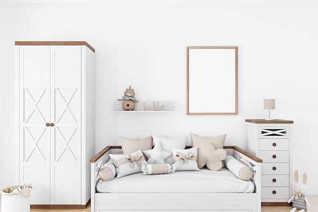 Plakat makiety w pokoju dziecięcym z białymi ścianami