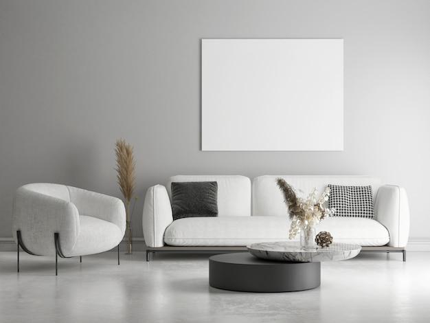 Plakat makiety w projekcie minimalizmu salonu