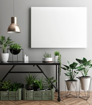 Plakat makiety z roślinami