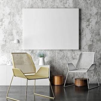 Plakat na betonowej ścianie dwa krzesła minimalna dekoracja pokoju