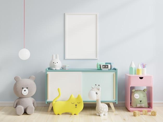 Plakat na szafce w pokoju dziecięcym, a za nim niebieska ściana, renderowanie 3d