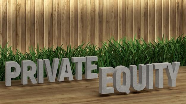 Plakat napis private equity. duże litery na drewnianym stole.