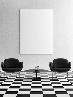 Plakat w czarno-białym wystroju wnętrza