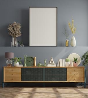 Plakat w nowoczesnym wystroju wnętrza salonu z ciemnoniebieską pustą ścianą. renderowanie 3d