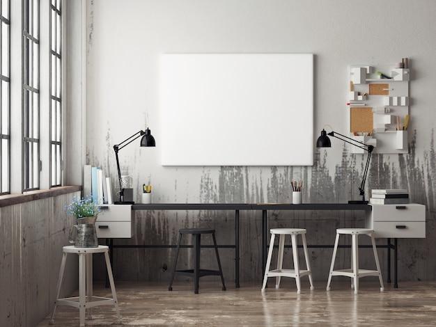 Plakat w obszarze roboczym krzesła i dekoracje ścienne w tle