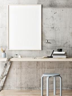 Plakat w obszarze roboczym krzesło i dekoracja betonowe tło