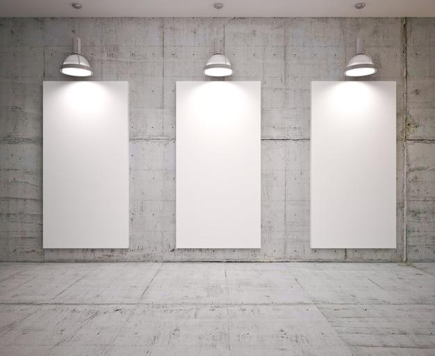 Plakat w pokoju z lampami na betonowej ścianie