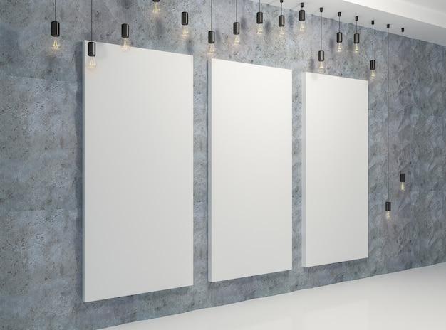 Plakat w pokoju z lampami retro i panelami 3d